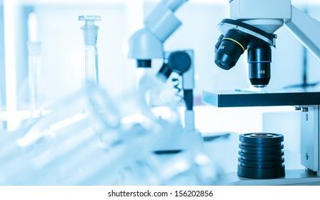 Laboratory microscope lens.modern  microscopes in a lab.