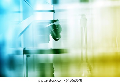 Laboratory microscope lens.modern microscopes in a lab