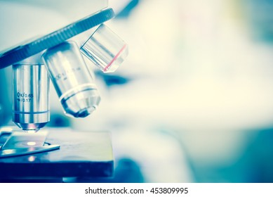 Laboratory Microscope. Scientific research background.