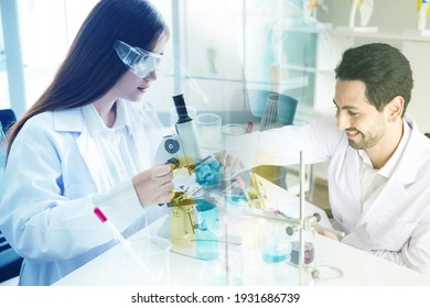 laboratory research and development concept by scientists with lab glassware, double exposure effect, experimental chemical and drug