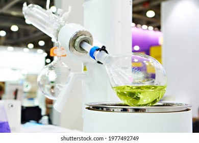 Laboratory rotary evaporator chemical with a flask