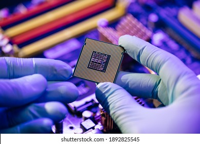 Laboratory technician holds a powerful processor in his hands. CPU computer processor shallow focus. CPU socket of the computer's motherboard. Concept of computer, motherboard, hardware and technology