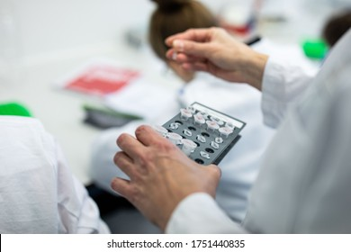 Laboratory test on blood samples in a laboratory of a university clinic