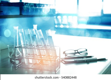 laboratory test tube with soft focus