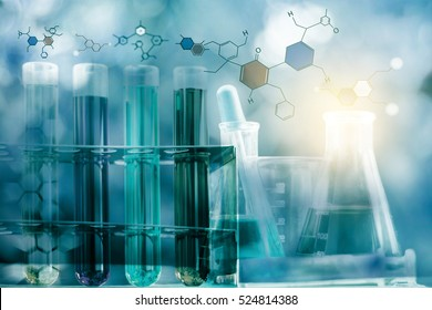 Laboratory test tube,Glass laboratory chemical test tubes with liquid.Double exposure