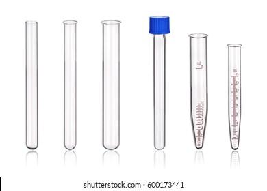 Laboratory test-tubes isolated on white background