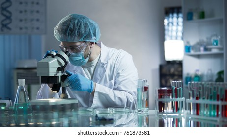 Laboratory worker carefully exploring samples to detect chronic pathologies