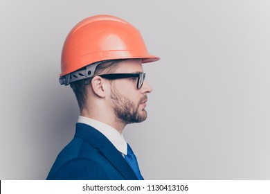 Laborer maintenance electrician goggles people person concept. Half-faced portrait of serious rich focused strict with bristle stubble man in suit jacket formalwear isolated gray background copy-space
