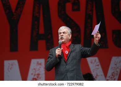 """Labor's Day Meeting from Turkey. Confederation of Progressive Trade Unions of Turkey(DISK)'s President """"Kani Beko"""" made his speech. MAY 1, 2017, ISTANBUL, TURKEY."""