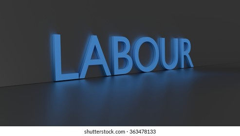 Labour concept words - blue text on grey background.