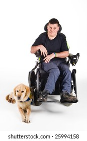 Labrador guide dog and his proud owner