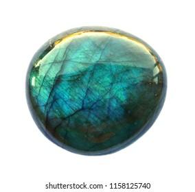 Labradorite mineral round Gemstone. Shiny, layered. Isolated on white background