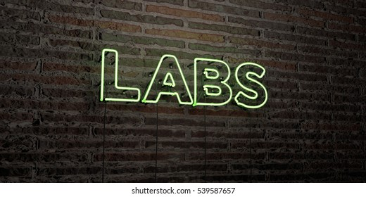 LABS -Realistic Neon Sign on Brick Wall background - 3D rendered royalty free stock image. Can be used for online banner ads and direct mailers.