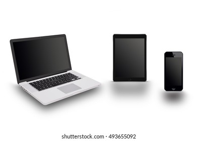 labtop tablet and smartphone on white background