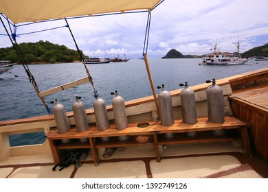 Labuan Bajo, NTT / Indonesia - May 1, 2019:  the condition of the front deck of one of the phinisi ships used for liveaboard on the Komodo Island