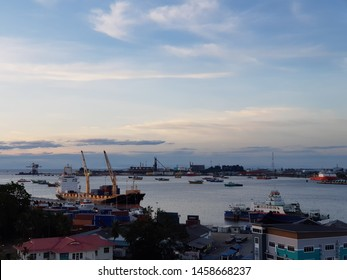 Labuan, Malaysia. December 6, 2018. Morning view of Labuan town from Aifa Hotel