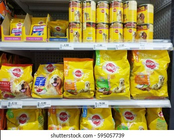 Labuan, Malaysia - February 20, 2017: Variety types of Pedigree dog food in the shelves at the local supermarket. Pedigree is a product of Pedigree Petfood, subsidiary of the  Mars, Incorporated