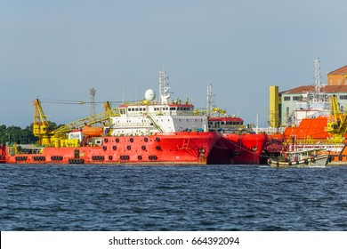 Labuan, Malaysia-June 15,2017:Multi function offshore oil & gas support,platform & supply vessels at Labuan,Malaysia.All the vessels in Labuan island,most related to the offshore Oil & Gas industry