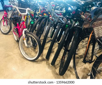Labuan,Malaysia- Apr 4,2019:Various modern bikes selling in bicycle shop in Labuan,Malaysia.Malaysia is encouraging people to cycle not just for recreation but to commute to work.
