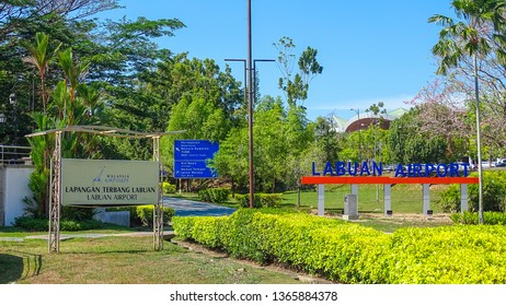 Labuan,Malaysia-Apr 4,2019:View of entrance to the Labuan Airport with Marlin fountain in Labuan,Malaysia.The airport is 2.5 km or 5 km by road from Victoria,Malaysia.