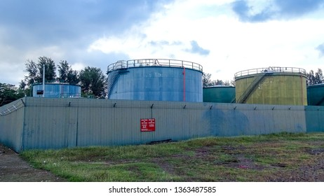 Labuan,Malaysia-Apr 5,2019:Big tank with water and a ladder for primary oil refining industry in Labuan,Malaysia.