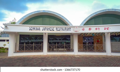 Labuan,Malaysia-Apr 5,2019:View of famous Japanese restaurant in Labuan,known as the Senkawa Japanese Restaurant located inside Labuan Water Sport park,Labuan,Malaysia.