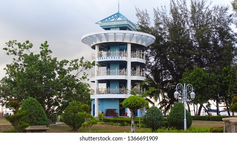 Labuan,Malaysia-Apr 5,2019:View of the Ramsey Point Observation Tower is located in the popular Tanjung Purun Beach adjacent to the International Sea Sports Complex,Labuan,Malaysia.