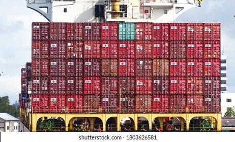Labuan,Malaysia-Aug 27,2020:Stacked containers on ship deck at Labuan port of Labuan island,Malaysia.