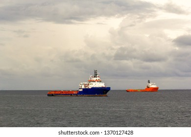 Labuan,Malaysia-Aug 30,2017:Offshore Oil and Gas construction vessel in Labuan island,Malaysia.All the vessels port in Labuan island,most related to the offshore Oil & Gas industry.