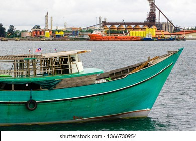 Labuan,Malaysia-Aug 30,2017:View of wooden Philippines boat known as Kumpit from the Philippines in Labuan,Malaysia.Its stopped at Labuan island before returning with trade goods to home.