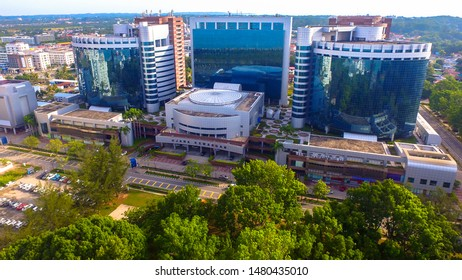 Labuan,Malaysia-Aug 9,2019:Aerial view of the Labuan iconic building,the Labuan Financial Park Complex of Labuan,Malaysia.Its contained with areas for working,living,shopping,leisure & convention.