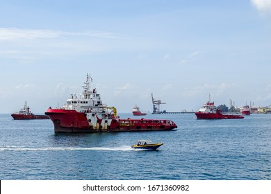 Labuan,Malaysia-Feb 26,2020:View of offshore vessel in Labuan,Malaysia.Its specially designed ships for transporting goods & personnel to offshore oil platform that operate deep in oceans.