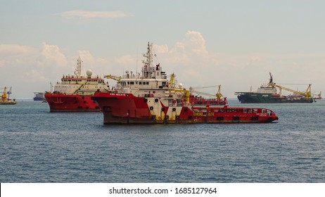 Labuan,Malaysia-Feb 7,2020:View of offshore vessels in Labuan,Malaysia.Its specially designed ships for transporting goods & personnel to offshore oil platform that operate deep in oceans.