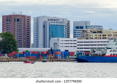 Labuan,Malaysia-Jan 15,2019:View of skyscrapers,modern architecture & sea in Labuan Pearl of Borneo,Malaysia.Labuan island is a Federal Territory of Malaysia.