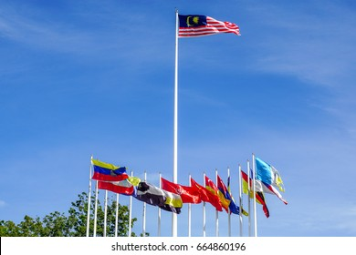 Labuan,Malaysia-June 12,2017:Malaysian flag along with 14 states flags within Malaysia in Labuan Square,Malaysia.It is one of the famous & popular attraction places in Labuan Pearl of Borneo,Malaysia