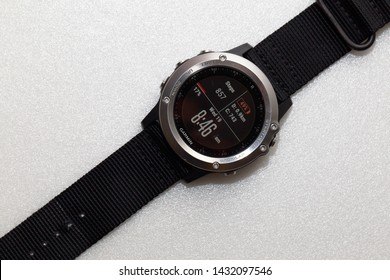 Labuan,Malaysia-June 19,2019:Photo of  Garmin Fenix 3 sports wristwatch in shop of Labuan,Malaysia.It is a smart multi sport training GPS watch with feature sets for fitness training for outdoor.