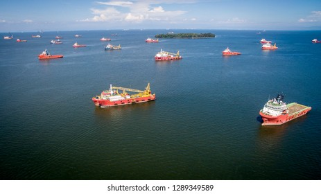 Labuan,Malaysia-June 4,2018:Aerial view of offshore support vessels in Labuan,Malaysia.More vessel repair jobs to Labuan now as the outlook of the oil & gas sector in the island has improved.