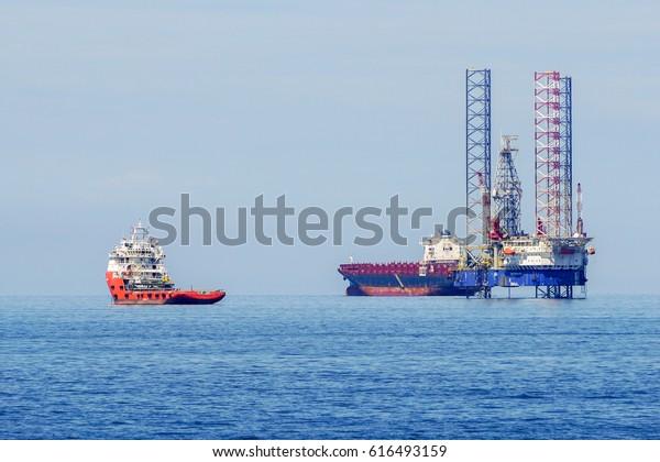 Labuanmalaysiamac 252017view Layup Drilling Jackup Rigs Stock Photo