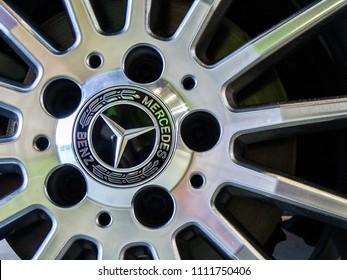 Labuan,Malaysia-May 13,2018:Closeup of Mercedes Benz logo on Mercedes Benz CLA 200 wheel in display at Motor Show in Labuan Pearl of Borneo,Malaysia.
