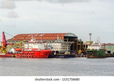 Labuan,Malaysia-May 31,2019:Offshore oil & gas support vessels under repair in Labuan Shipyard & Engineering at Labuan,Malaysia.It is a Malaysian shipbuilding company based in the Labuan island.