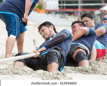 Labuan,Malaysia-Mei 1,2016:Labuan International Sea Challenge 2016, competition was tug a war in the beach.
