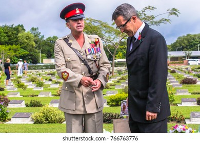 Labuan,Malaysia-Nov 12,2017:People attending the Remembrance Day Lest We Forget at Commonwealth World War II graveyard in Labuan,Malaysia.