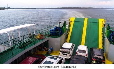 Labuan,Malaysia-Sept 1,2018:Passenger ship or ferry boat in sunny day sea in Labuan island,Malaysia.
