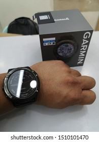 Labuan,Malaysia-Sept 21,2019:Photo of Garmin Fenix 6X sport watch.It is a smart multi sport training GPS watch with feature sets for fitness training for  outdoor and indoor sports.