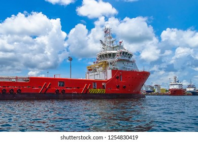 Labuan,Malaysia-Sept 23,2018:View of platform support vessels in Labuan bay island,Malaysia.All the vessels port in Labuan island,most related to the offshore Oil & Gas industry.