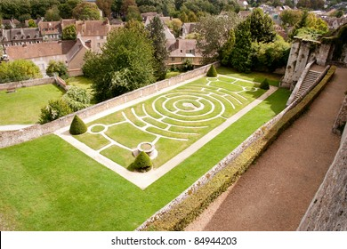 Labyrinth garden behind famous Chartres Cathedral