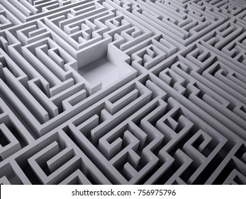 labyrinth maze with empty space inside, 3d illustration