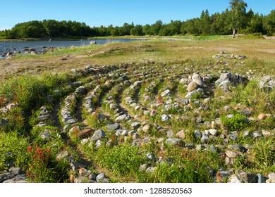 Labyrinths on the Big Solovetsky Island on the Labyrinth Cape. Solovki, Karelia, Russia