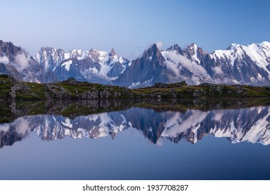 Lac Blanc lake and Mont Blanc (Monte Bianco) beautiful landscape view in Chamonix location. Beautiful outdoor scene in Vallon de Berard Nature Reserve, France