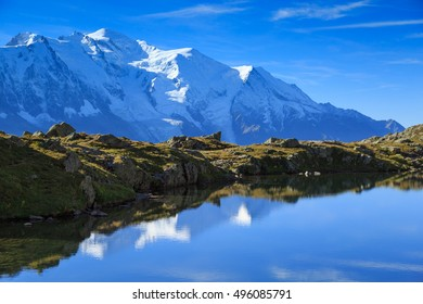 Lac De Cheserys, with the Mont Blanc in the background.